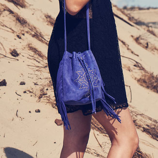 blue bohemian style crossbody suede bag with studs