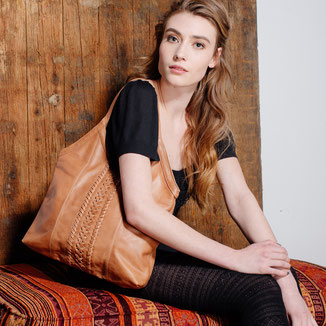 Nina: tan distressed leather hobo bag with woven details