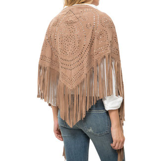 SMALL CAMEL SUEDE SHAWL WITH FRINGES
