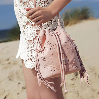 bohemian style festival fringed suede crossbody - pink