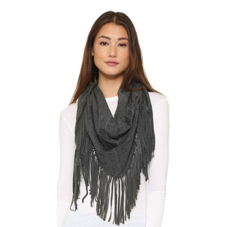 MEDIUM DARK GREY SUEDE SHAWL WITH FRINGES
