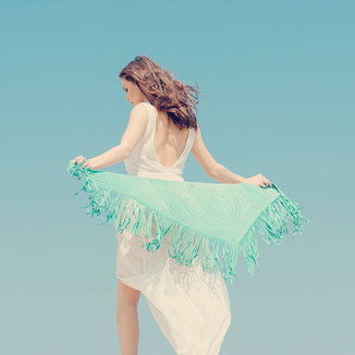 AQUA SUEDE SHAWL WITH FRINGES