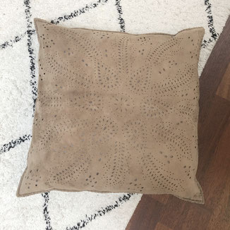 Rosa  modern ranch pillow in beige suede