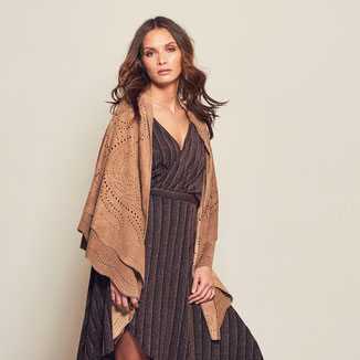 CAMEL SUEDE WRAP WITH LAYERING AND EMBROIDERY