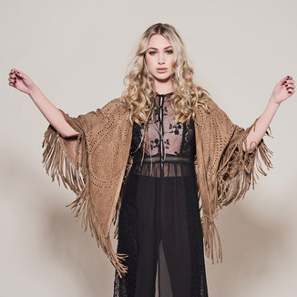 CAMEL SUEDE KIMONO WITH FRINGES