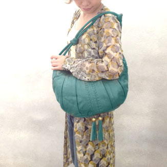 Goa- luxury Sea green leather bag with tassels and beads