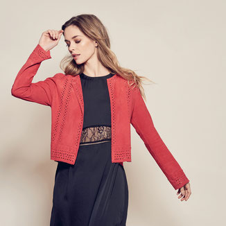 RED SUEDE JACKET WITH EMBROIDERIES