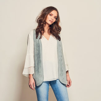 SOLA VEST WITH STUDS - BLUE GREY