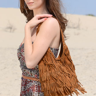bohemian style festival fringe suede leather bag