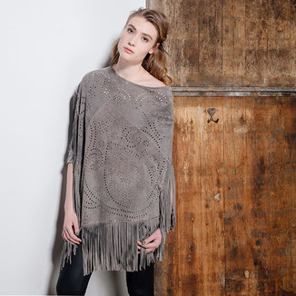 GREY SUEDE PONCHO WITH FRINGES AND STUDS