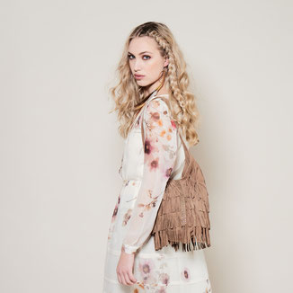bohemian style festival fringed suede leather bag