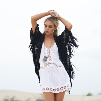 BLACK SUEDE KIMONO WITH STUDS AND FRINGES