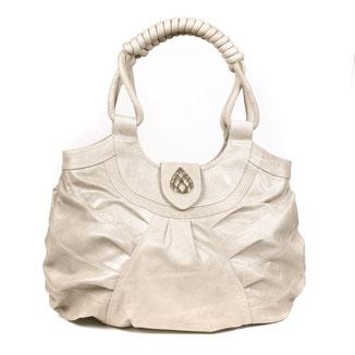 Boho style luxe leather ivory shopper handbag