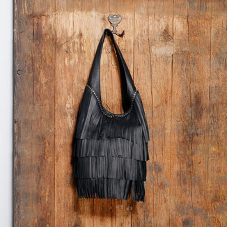 western style leather black hobo fringe bag with studs
