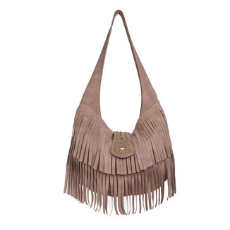 western style beige suede hobo studded fringe bag with studs