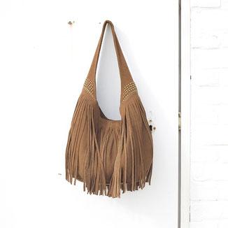 Bohostyle Fiji tan suede studded fringe hobo bag