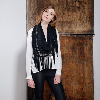 LEATHER SUEDE BLACK SHAWL WITH SILVER STUDS FRINGES