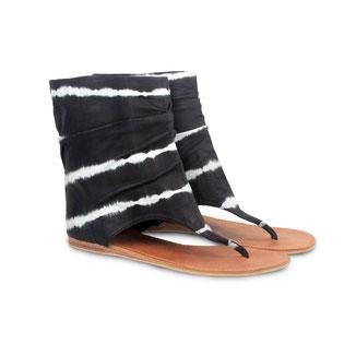 Nadia black leather tye dye sandal boots - €129