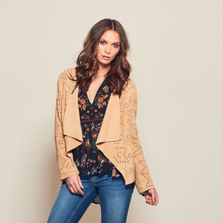 NUDE SUEDE JACKET WITH PERFORATIONS