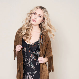 BROWN SUEDE KIMONO WITH FRINGES