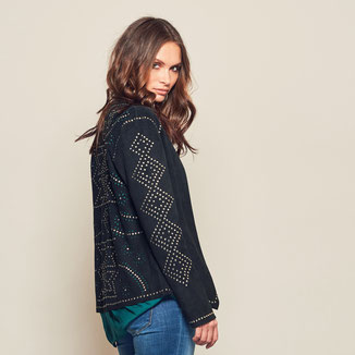 BLACK SUEDE MOTO JACKET WITH STUDS
