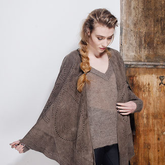 TAUPE SUEDE CAPE WITH ARMHOLES AND EMBROIDERY
