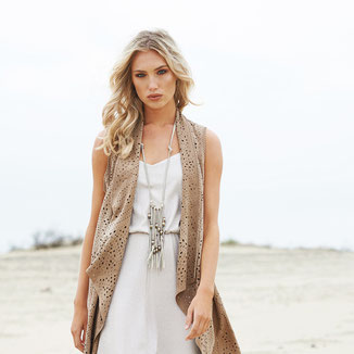LONG SUEDE SLEEVELESS VEST WITH EMBROIDERIES AND PERFORATIONS