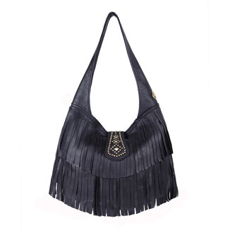 western style leather black hobo studded fringe bag