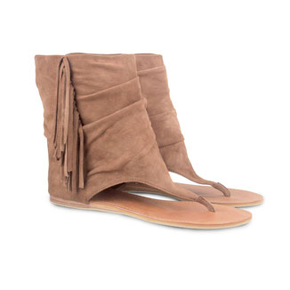 Nadia camel beige suede sandal fringe boots - €129