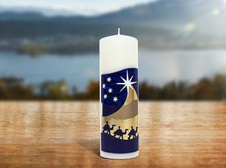 Kloster St. Anna Produkt; Kerze mit Sujet Stern von Bethlehem
