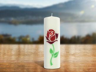 Kloster St. Anna Produkt; Kerze mit Sujet Rose