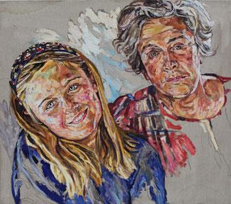 Helga Druml, Großmutter mit Enkel, 2017, 80 x 90 cm