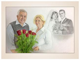 inna-bredereck-auftragsmalerei-familienportrait-kunstwerk-portraitzeichnungen-brautpaar-brautstrauss-damals-heute