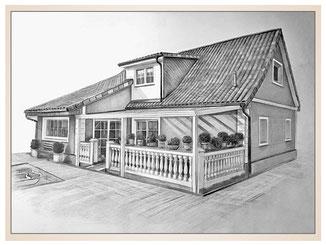 auftragsmalerei-inna-bredereck-kunstwerk-gegenstaende-gegenstandsmalerei-terrasse-blumen-dachfenster-haus