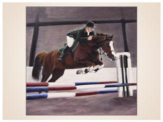 auftragsmalerei-inna-bredereck-kunstwerk-pferdeportrait-pfersprinreiten-helm-hindernissreiten-halle