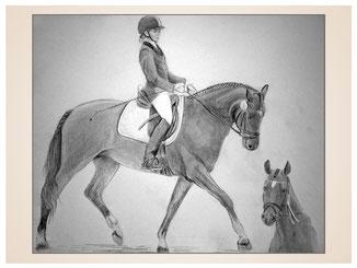 auftragsmalerei-inna-bredereck-kunstwerk-pferdeportrait-sattel-reithelm-gerte-trab-reitsport