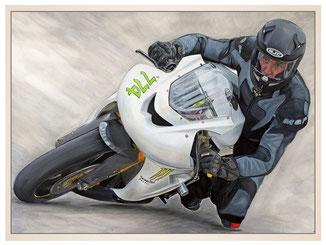 auftragsmalerei-inna-bredereck-acrylgemaelde-motorrad-rennmaschine-helm-kurvenlage-kunstwerk