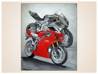 auftragsmalerei-inna-bredereck-kunstwerk-gegenstaende-rotes motorrad-motorraeder-rennmaschinen