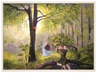 auftragsmalerei-inna-bredereck-fantasie-wald-frau-mann-jaeger-kunstwerk