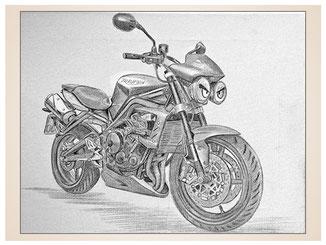 auftragsmalerei-inna-bredereck-kunstwerk-gegenstaende-gegenstandsmalerei-triumph-lampen-augen-sportmotorrad-sportmaschine