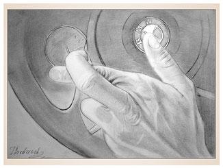 auftragsmalerei-inna-bredereck-kunstwerk-gegenstaende-gegenstandsmalerei-hand-bmw-zeichen-fingerzeichen