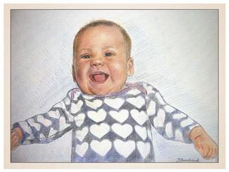 inna-bredereck-auftragsmalerei-portraitzeichnung-kunstwerk-lachendes-baby-herzen-pullover