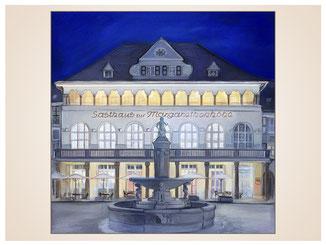 auftragsmalerei-inna-bredereck-stadt-gasthaus-brunnen-acrylgemaelde-abend-gebaude-hotel-kunstwerk