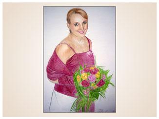 inna-bredereck-auftragsmalerei-portraitzeichnung-kunstwerk-blumenstrauss-frau-kleid-mode-lachen