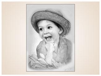 inna-bredereck-auftragsmalerei-portraitzeichnung-kunstwerk-sonnenhut-kind-lachen-tulpen