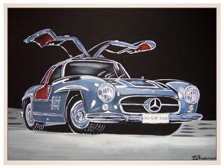 auftragsmalerei-inna-bredereck-mercedes-300-SL-auto-acrylgemaelde-sportwagen-fluegeltueren-kunstwerk