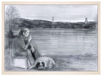inna-bredereck-auftragsmalerei-portraitzeichnung-kunstwerk-mann-hund-stuhl-see-maar