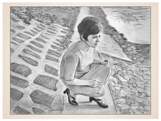 inna-bredereck-auftragsmalerei-portraitzeichnung-kunstwerk-60er-jahre-frau-ufer