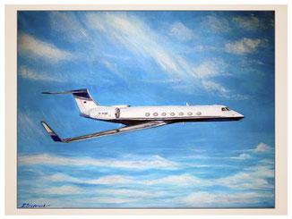 auftragsmalerei-inna-bredereck-kunstwerk-gegenstaende-gegenstandsmalerei-jet-flugzeug-passiegmaschine-himmel-wolken
