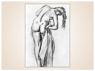 inna-bredereck-auftragsmalerei-kohlezeichnung-handtuch-frau-haare-erotik-kunstwerk
